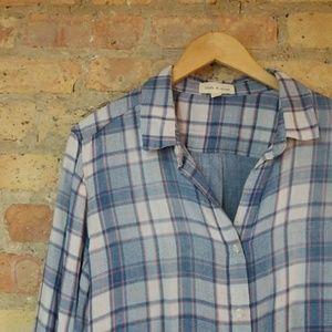 Anthropologie Cloth & Stone Gauzy Plaid Shirt